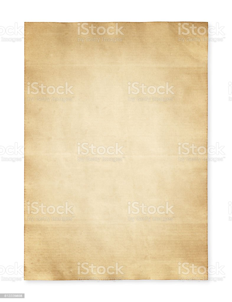 Old paper isolated on white background stock photo