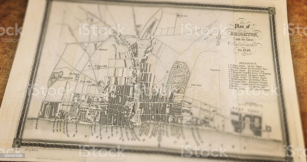 Old Paper Map of Brighton stock photo