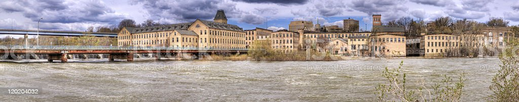 Old Paper Mills HDR Panorama, Appleton Wisconsin stock photo