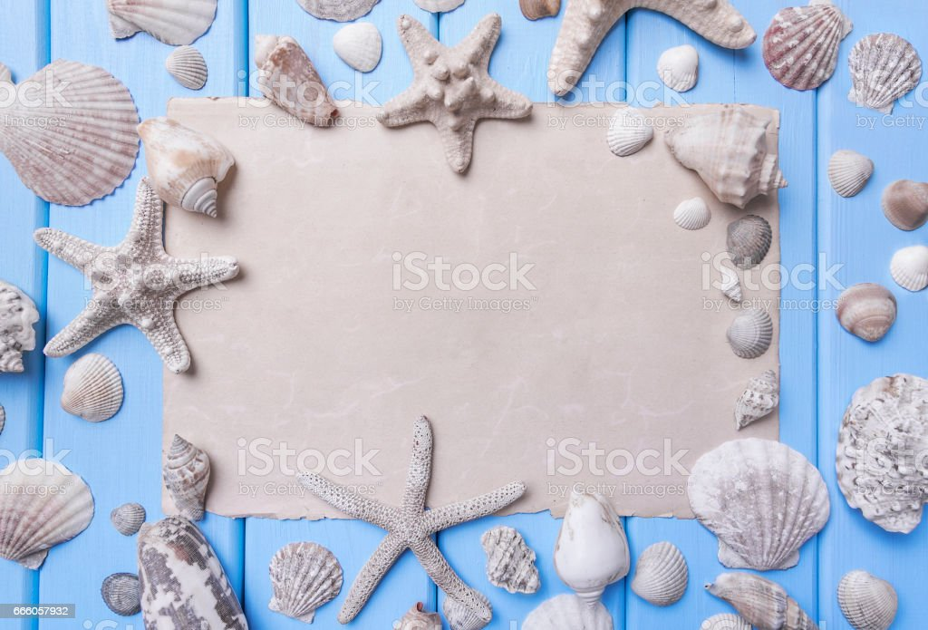 Old paper on blue boards. Marine theme. stock photo