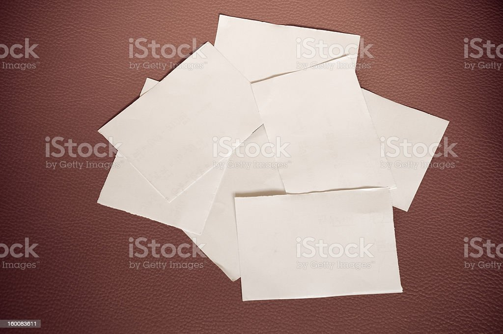 Old paper on vintage leather royalty-free stock photo