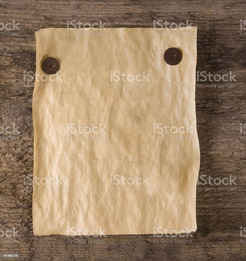 old paper on wood deck royalty-free stock photo
