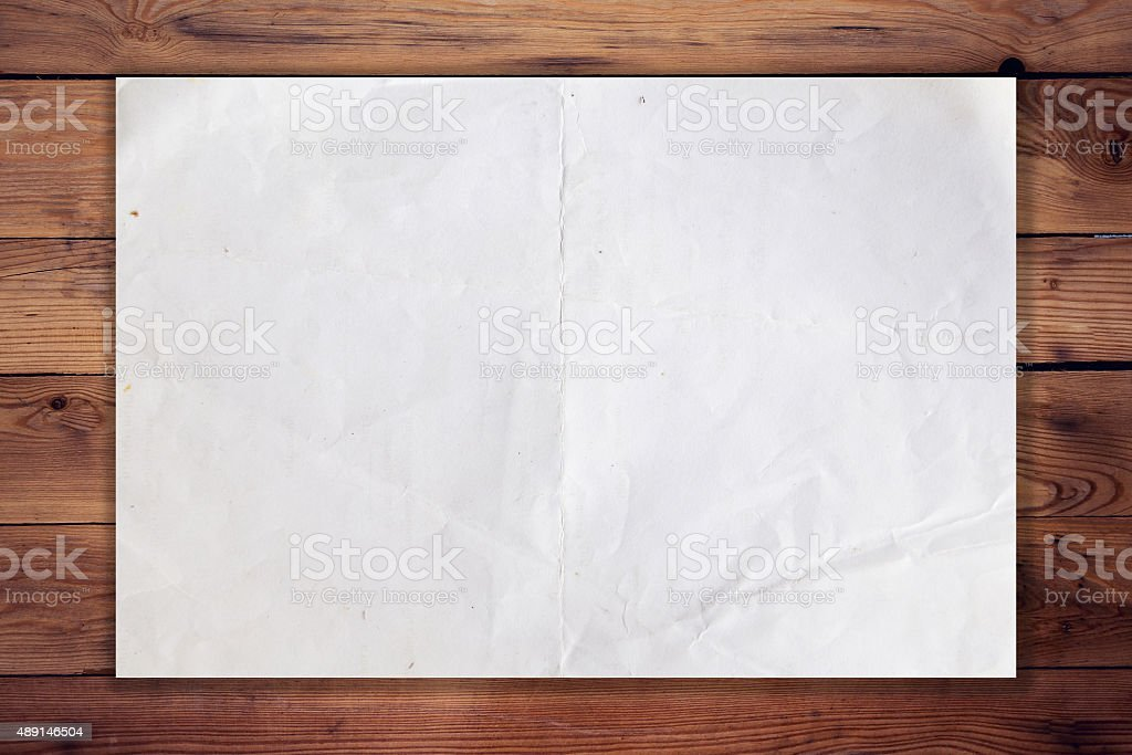 old paper on wood horizontal background and texture stock photo