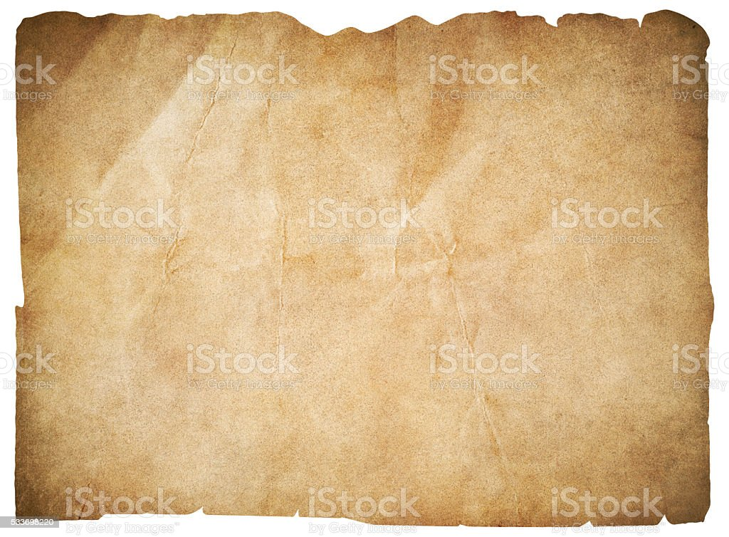 old paper or blank pirates map isolated with clipping path stock photo