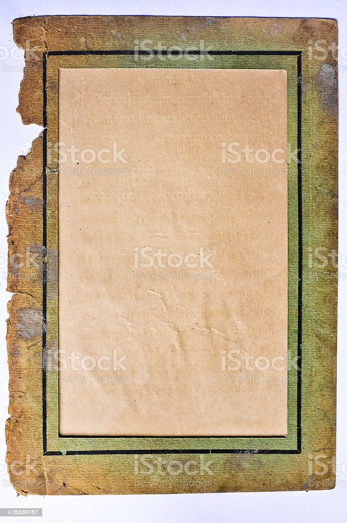 Old paper picture frame. royalty-free stock photo