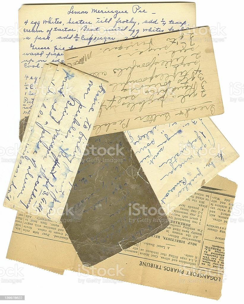 Old Paper Recipes stock photo