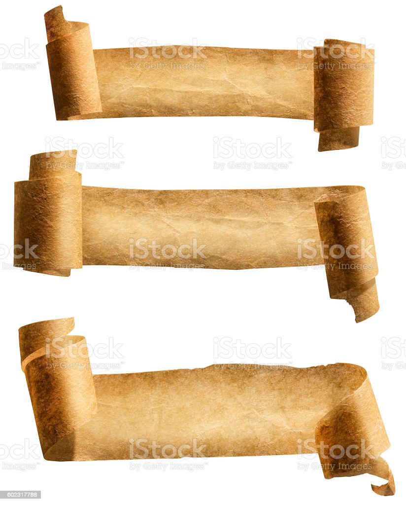 Old Paper Scroll Ribbon, Parchment Roll Icon, Curled Ancient Banners stock photo