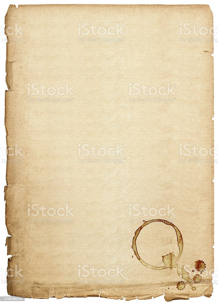 old paper sheet isolated on white background royalty-free stock photo