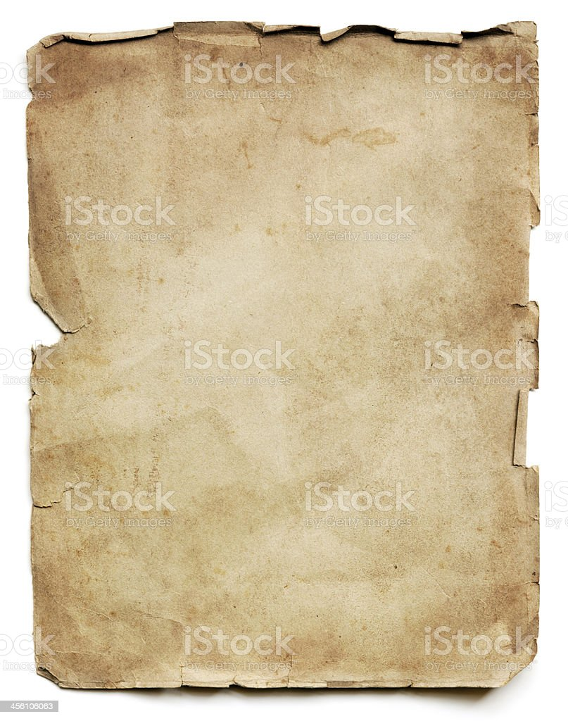 Old Paper Sheet Isolated stock photo