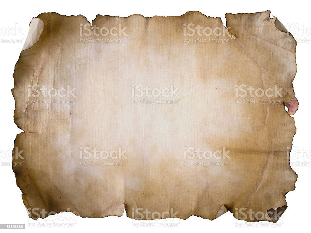 Old paper sheet on white stock photo