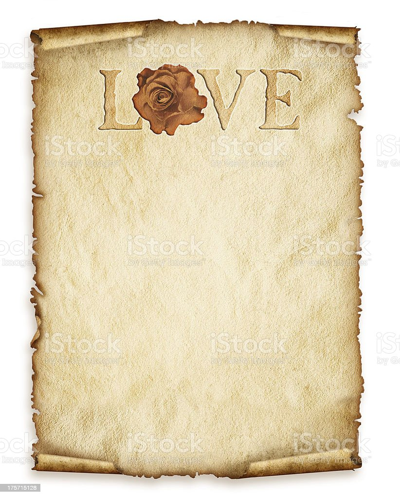 Old paper sheet, with rose and love royalty-free stock photo