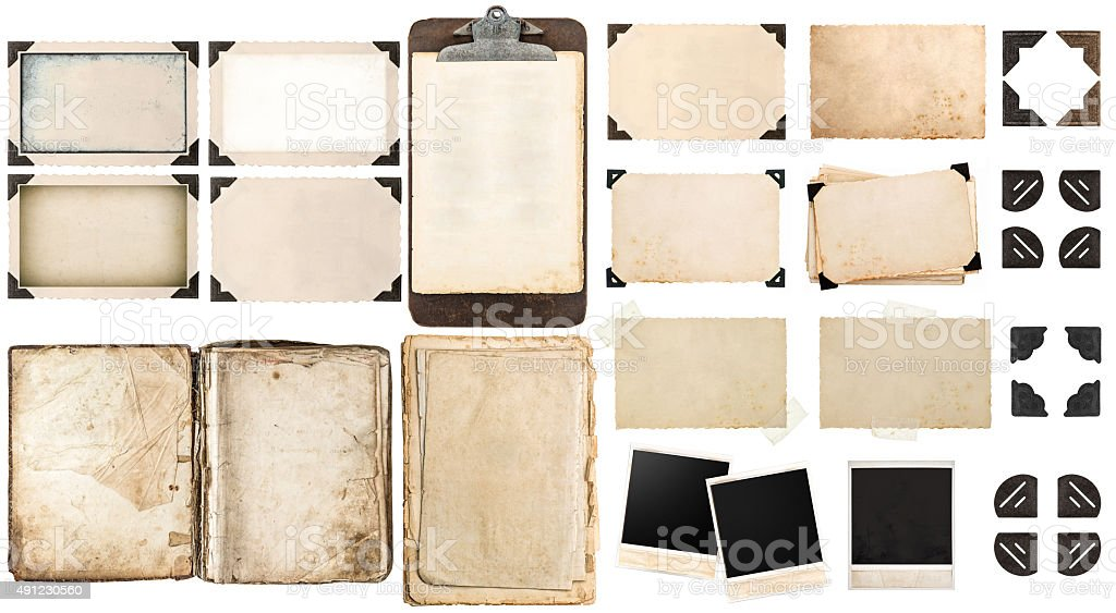Old paper sheets, vintage photo frames and corners, open book stock photo