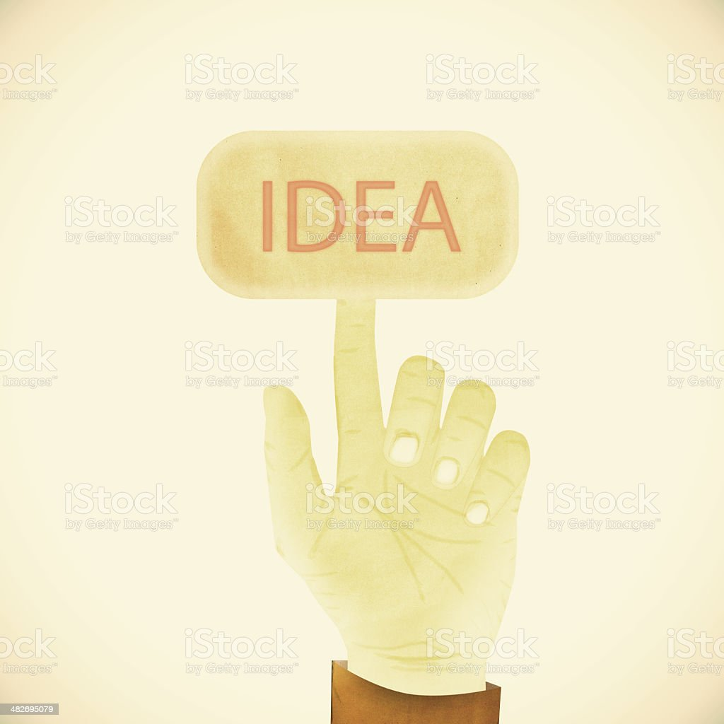 Old Paper texture ,Hand gesture pointing at idea stock photo