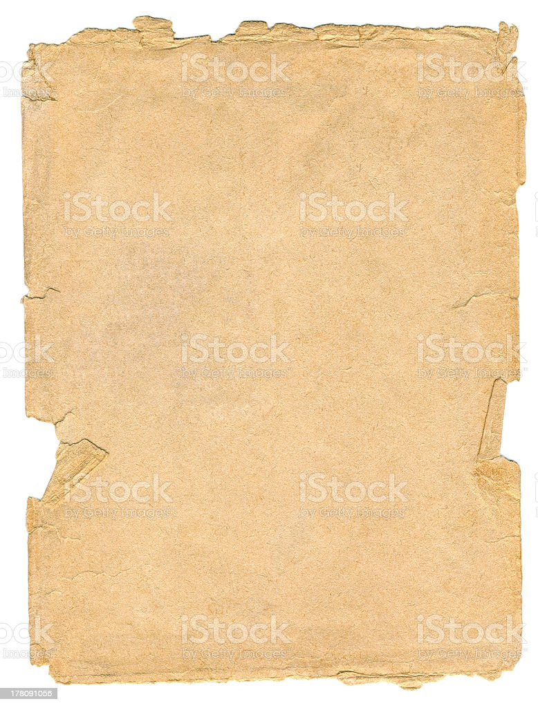 old paper texture isolated on white background royalty-free stock photo