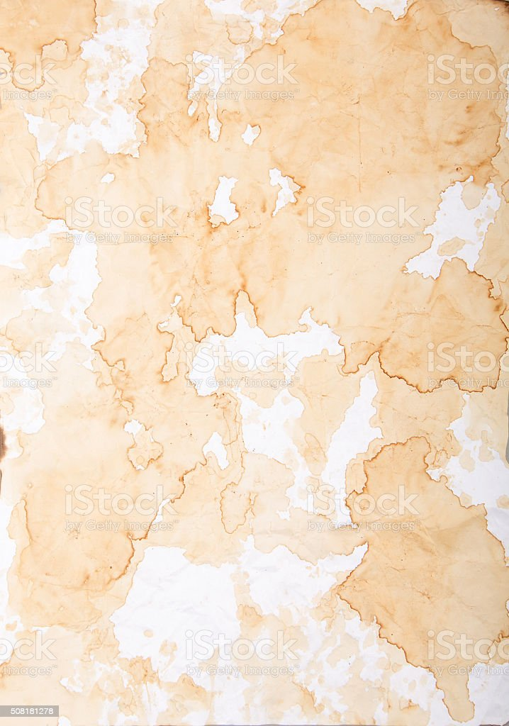 old paper texture with stains and smudges from coffee stock photo