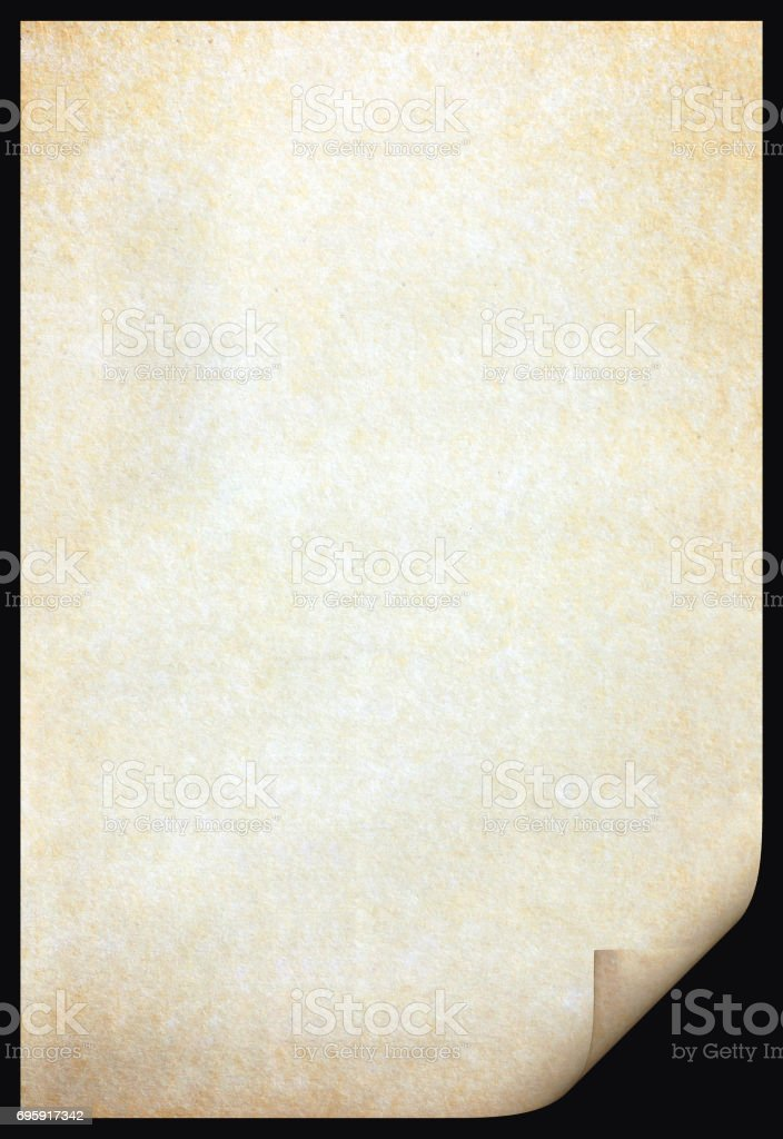 Old paper texture with stains patterns and the bent edge stock photo