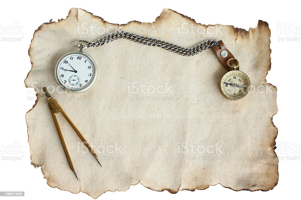 Old Paper Watch and Compass royalty-free stock photo