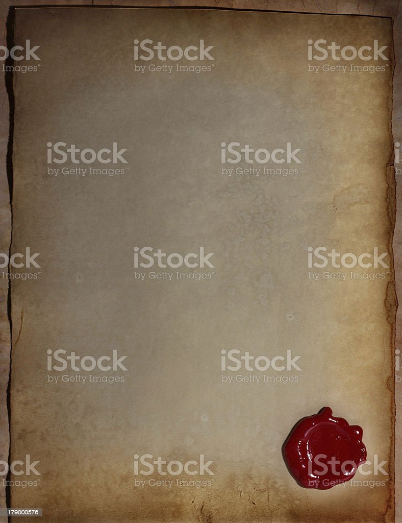 old paper with a wax seal royalty-free stock photo