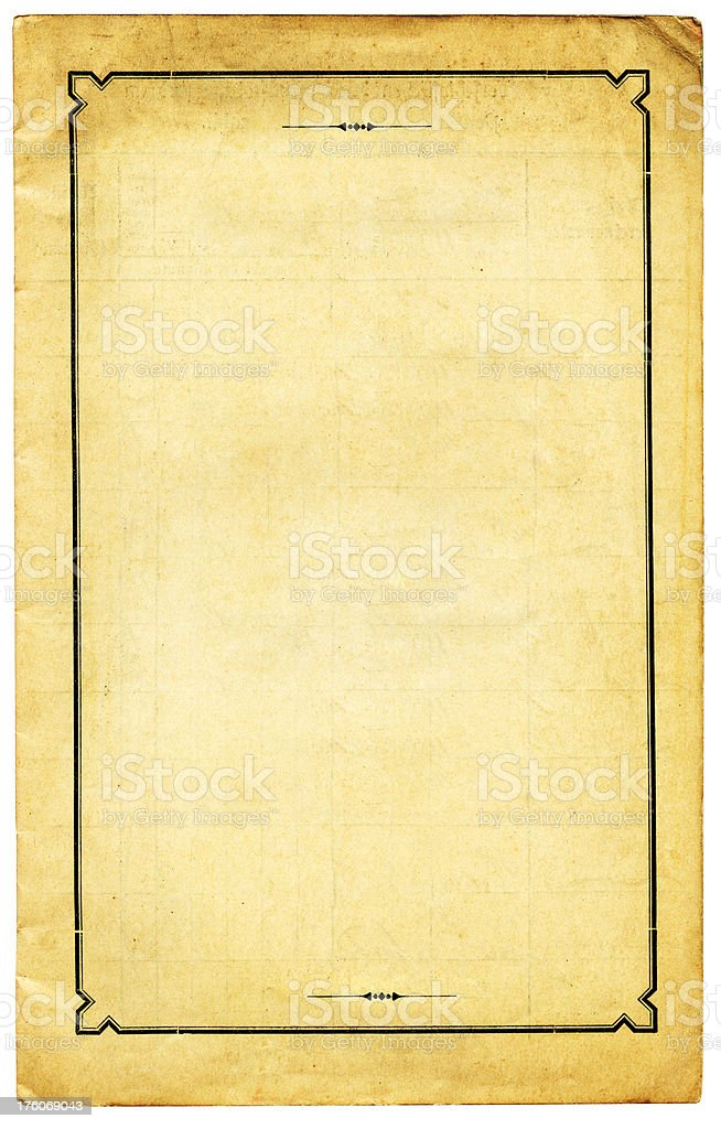old paper with black calligraphic frame royalty-free stock photo