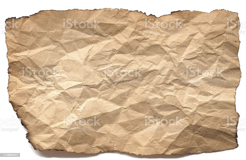 Old Paper With Burnt Edges Isolated On A White Background stock photo