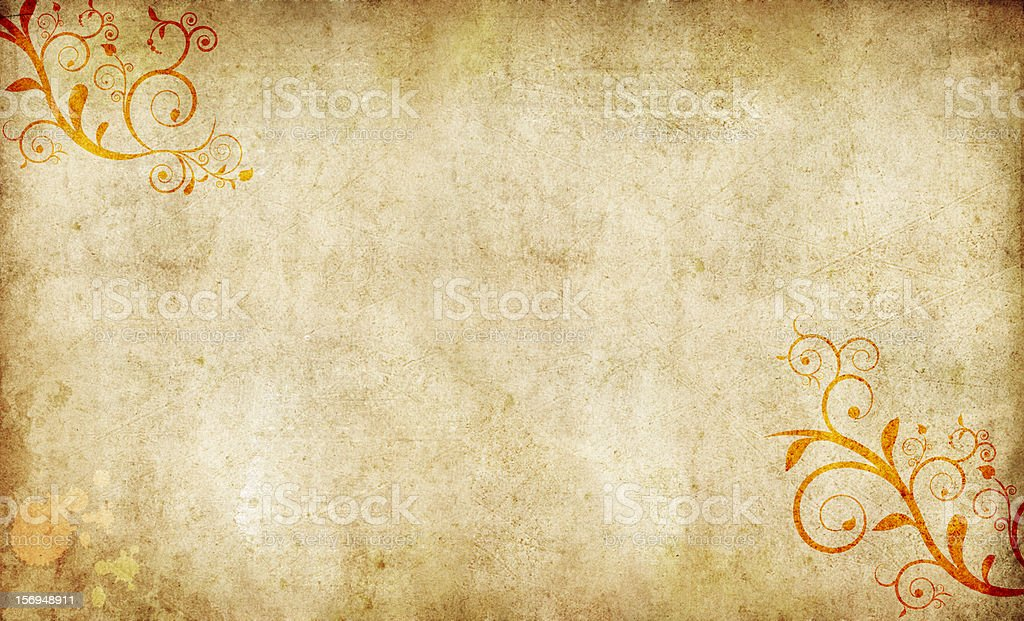 old paper with calligraphic floral ornament royalty-free stock photo