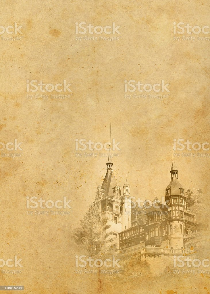old paper with castle royalty-free stock photo