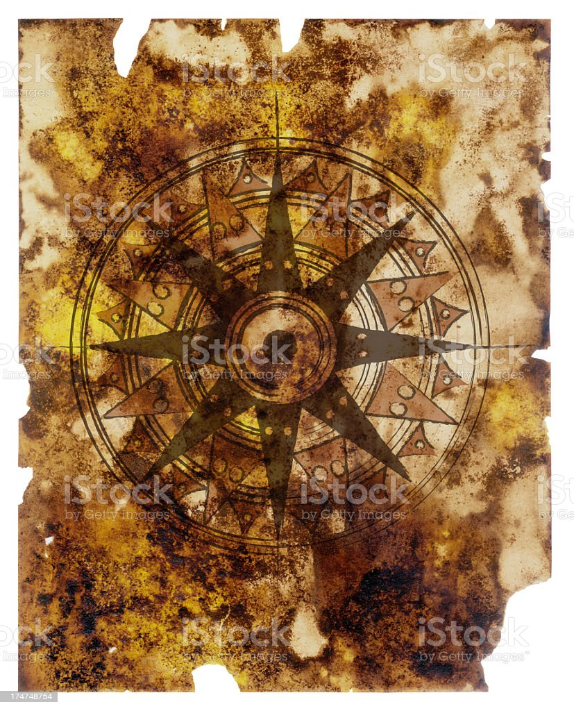 Old paper with compass royalty-free stock photo