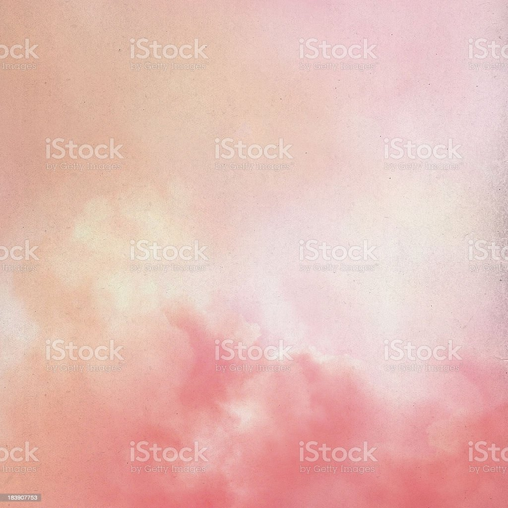 Old paper with dreamy clouds royalty-free stock photo