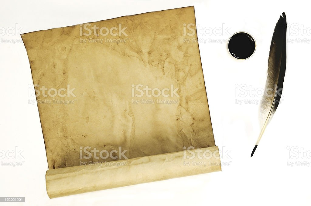 old paper with feather and ink royalty-free stock photo