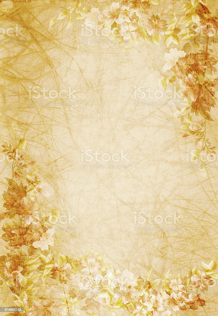 old paper with floral design royalty-free stock photo