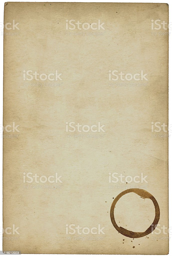 Old paper with foxing and ring stain royalty-free stock photo
