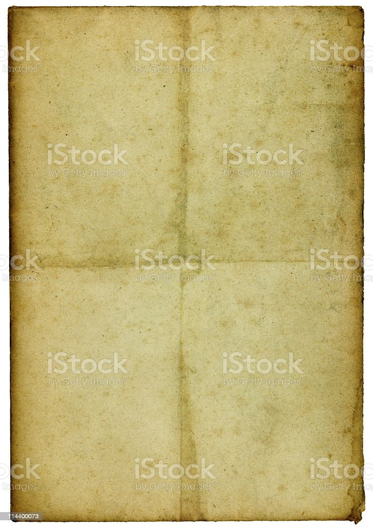 Old paper with rough darkened edges and creases royalty-free stock photo