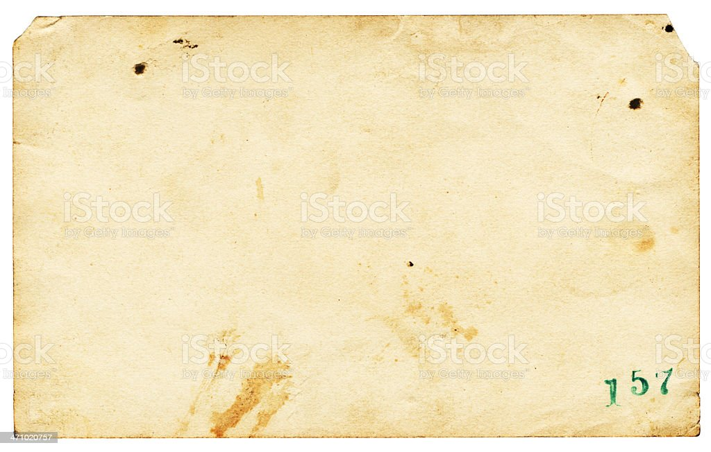 Old Paper with the Number One Fifty Seven royalty-free stock photo