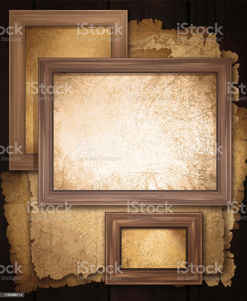 Old papers and frames. royalty-free stock photo