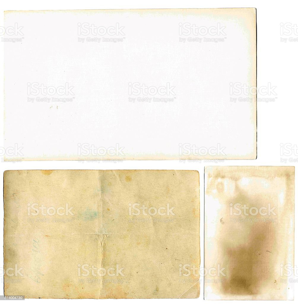 old papers set isolated on white background stock photo