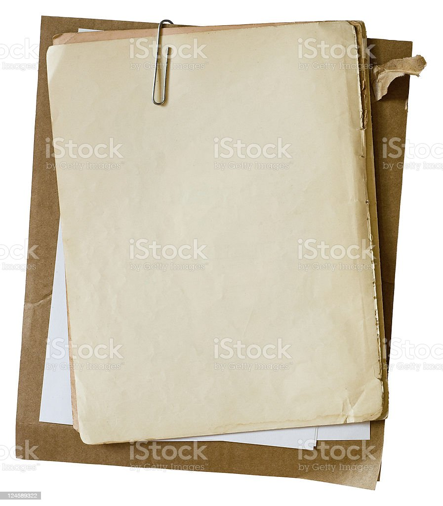 Old papers with paperclip stock photo