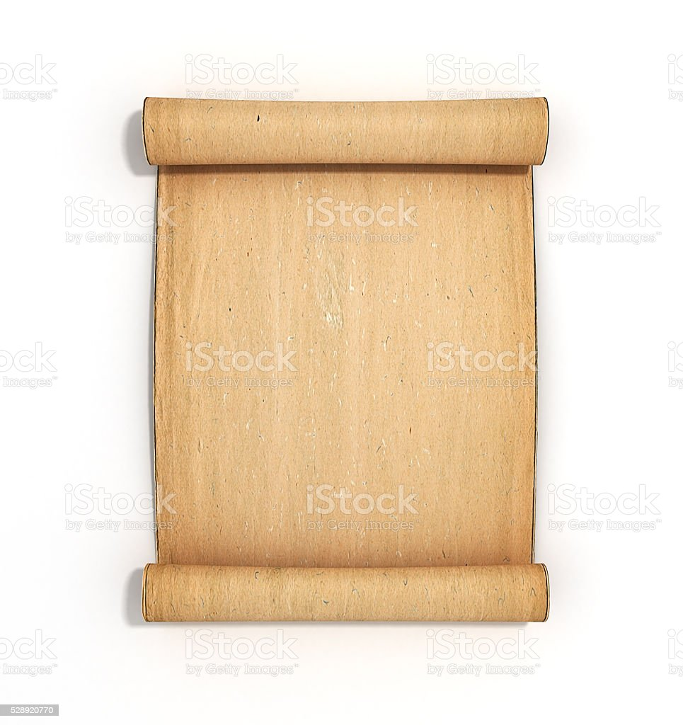 old papyrus scroll isolated on white background stock photo