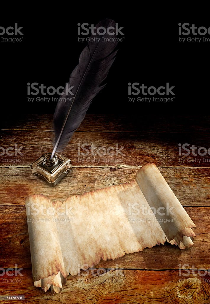 Old Parchment and a Quill royalty-free stock photo