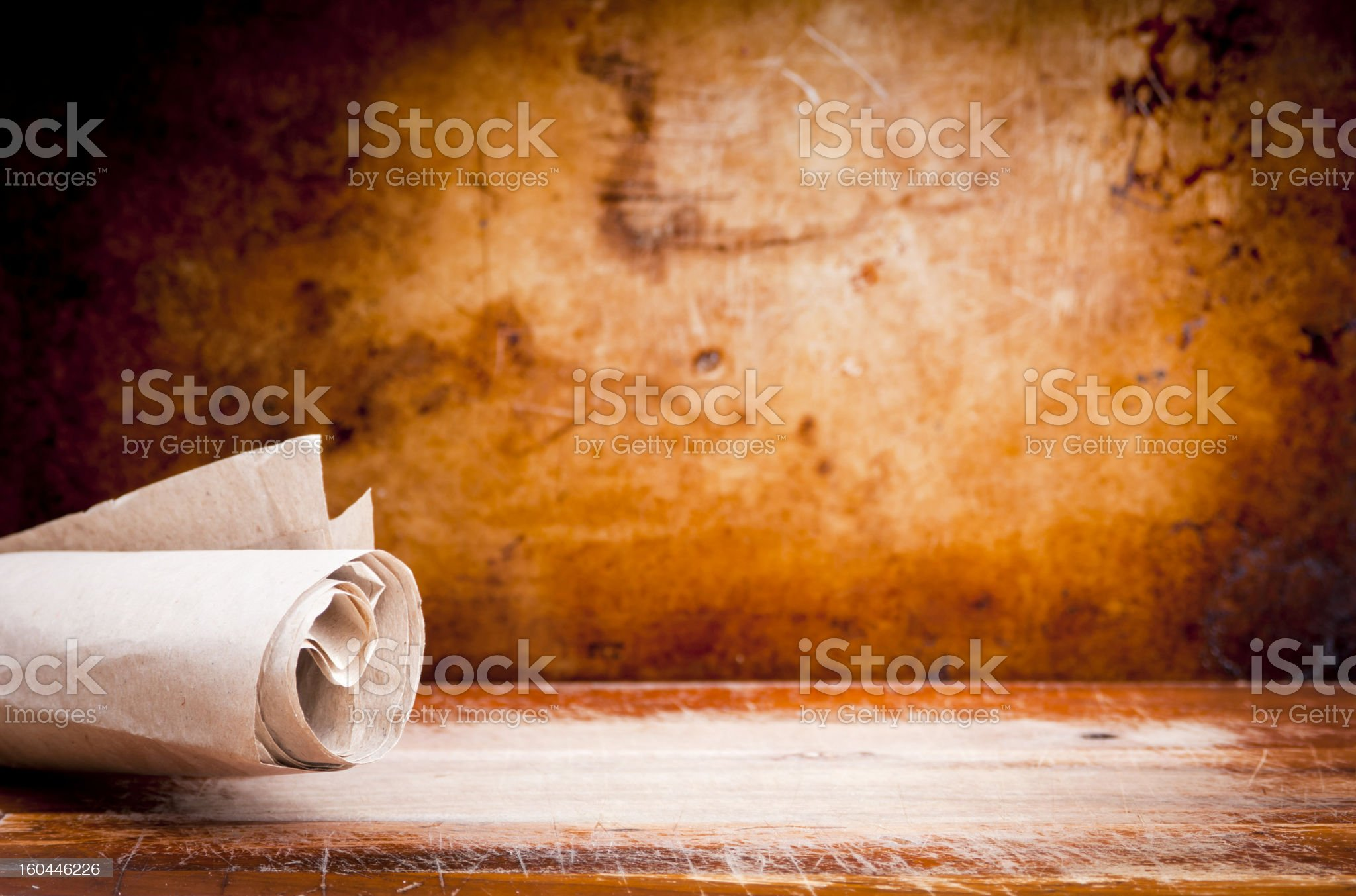 Old Parchment Paper Scroll royalty-free stock photo