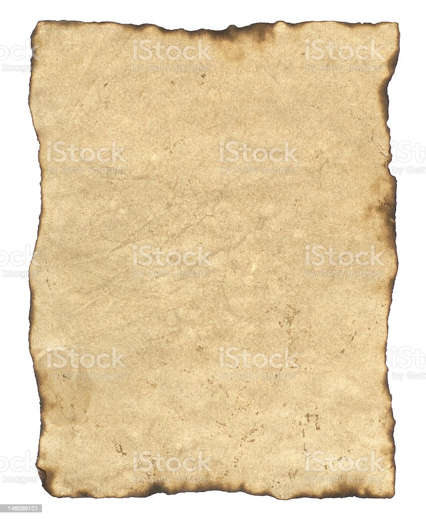 Old Parchment Paper with Clipping Path royalty-free stock photo