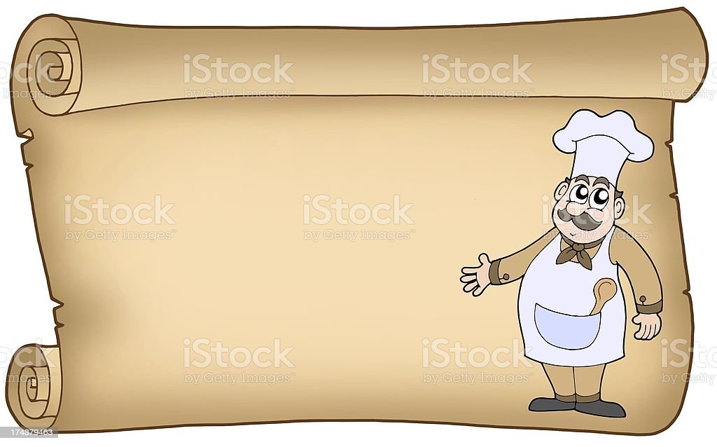Old parchment with chef royalty-free stock photo