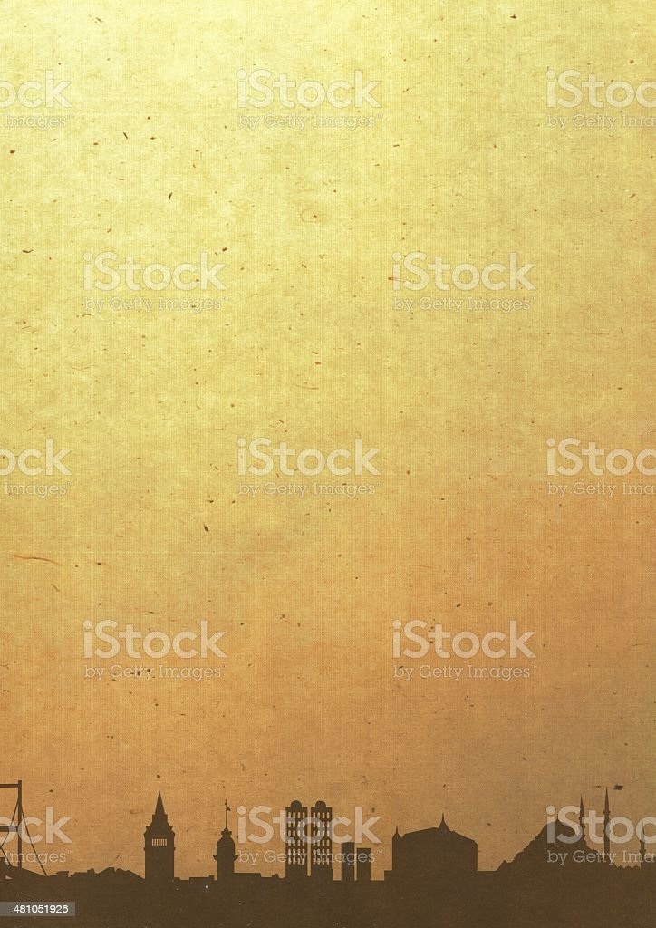 Old parchment with İstanbul stock photo