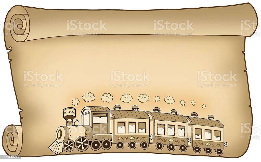 Old parchment with train royalty-free stock photo