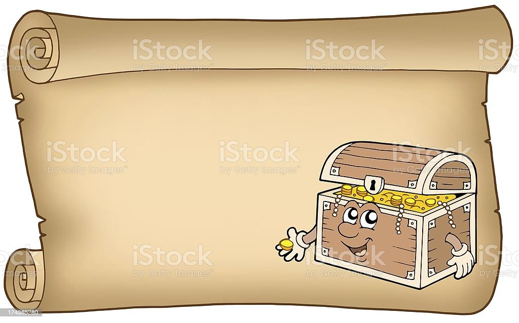 Old parchment with treasure chest royalty-free stock photo