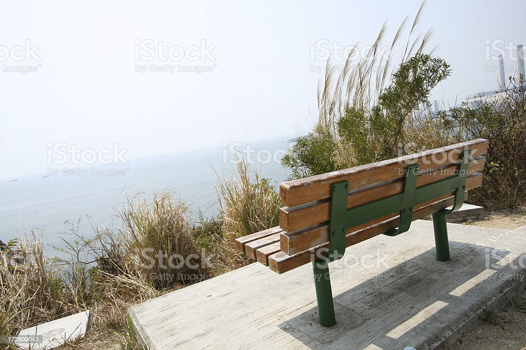 old parkbench on the hill royalty-free stock photo