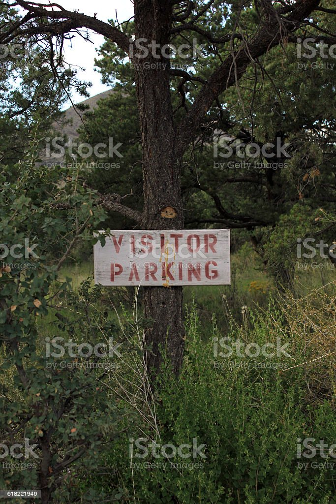 old parking sign stock photo