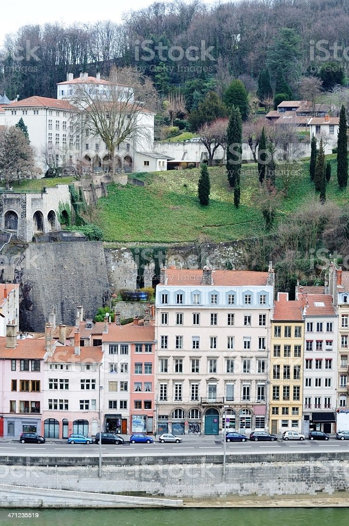 Old part of Lyon, France stock photo