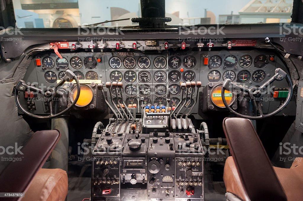 Old passenger airplane cockpit stock photo