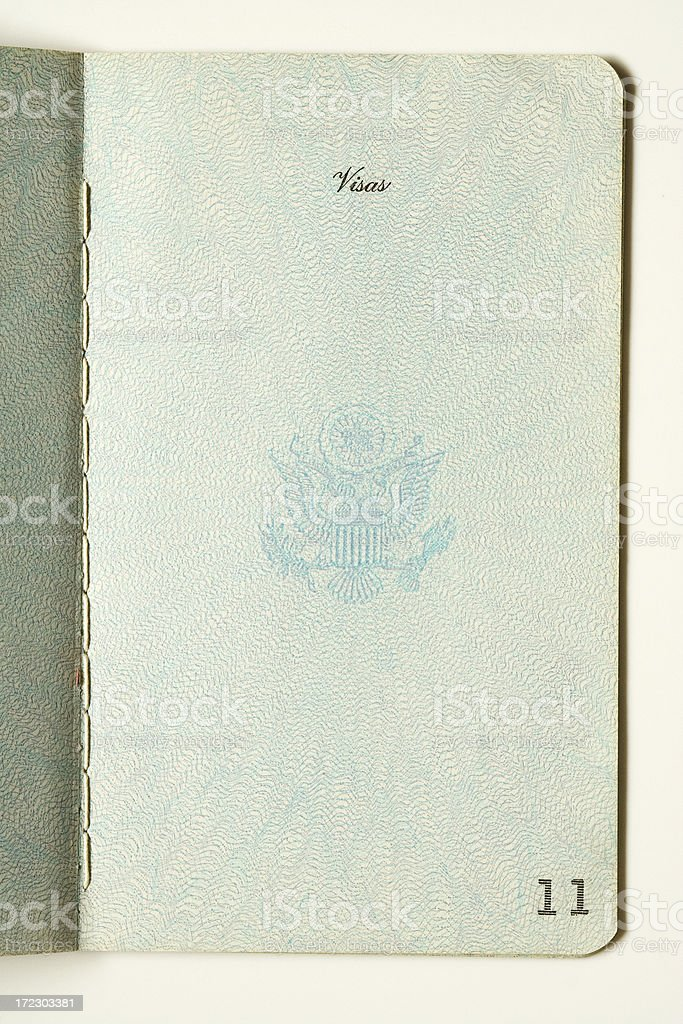 Old Passport,Blank Visa Page royalty-free stock photo