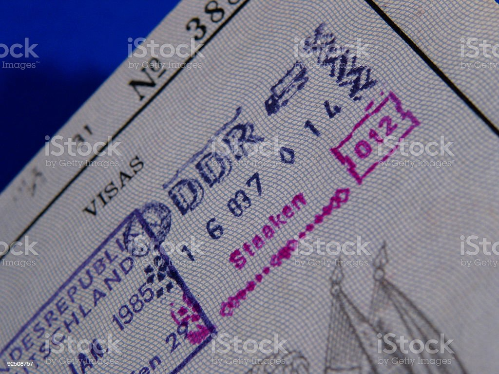 Old passport-stamp of the DDR royalty-free stock photo